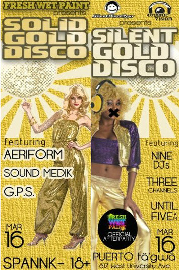 Solid Gold Disco/Silent Gold Disco flyers