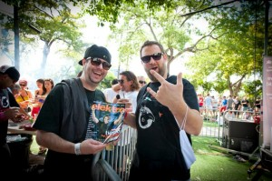 Christian Martin poses with Claude VonStroke at the Dirtybird BBQ party, WMC 2012