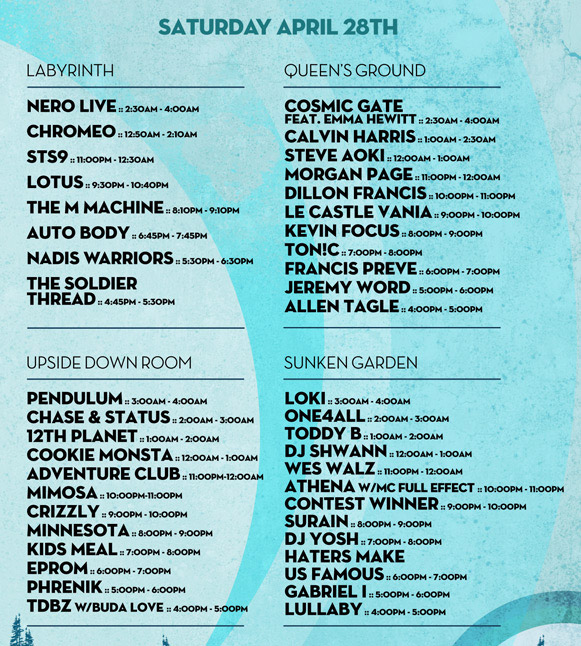 Saturday Nocturnal Wonderland Line-up