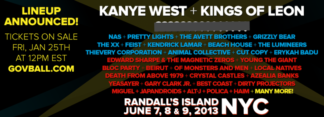 Governor's Ball Line-up Released! June 7 – 9, 2013